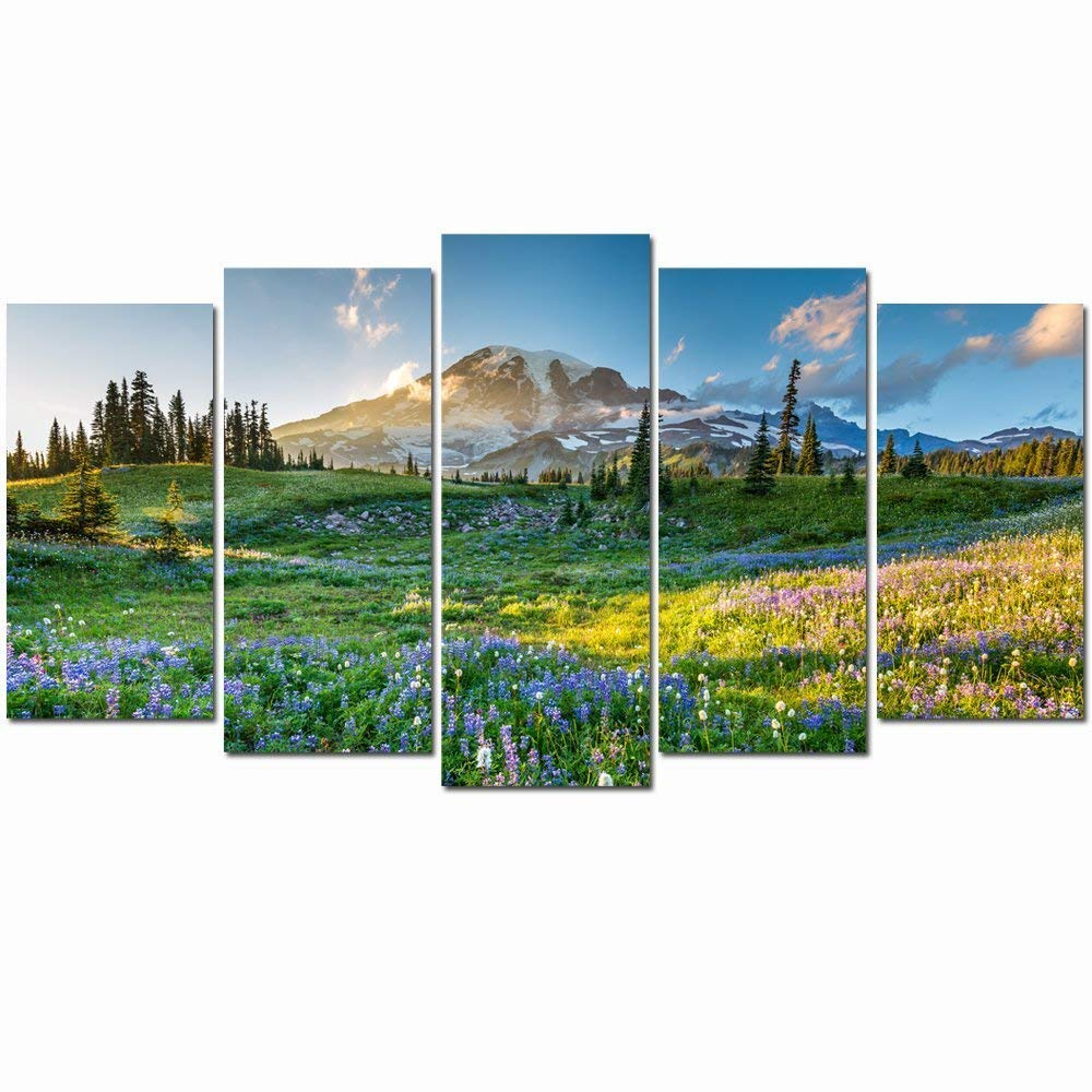 LevvArts- Large Canvas Print Wall Art Mount Rainier National Park at Sunrise Landscape Painting Giclee Print Gallery Wrap Ready to Hang Modern Living Room Decor