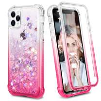 Ruky Case for iPhone 11 Pro Glitter Case Full Body Rugged Liquid Clear Cover with Built-in Screen Protector Shockproof Protective Girls Women Case for iPhone 11 Pro 5.8 inches 2019 (Gradient Pink)