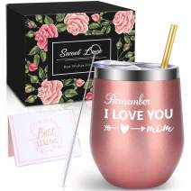 WONDAY Giftsfor Mom-Birthday Gifts for Mom- Wine Gifts for Mom-Mothers Day Gifts for Mom,Wife,BFF,Best Friends,Sister,Daughter, Grandma-12 oz Stemless Insulated Wine Tumbler with Lid
