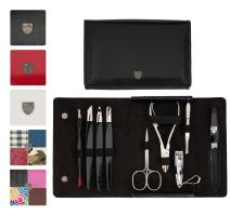 3 Swords Germany - brand quality 9 piece manicure pedicure grooming kit set for professional finger & toe nail care scissors clipper fashion leather case in gift box, Made in Solingen Germany (03584)