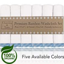 Channing & Yates - Premium Baby Washcloths - (6-Pack) Bamboo Organic Baby Wash Cloths - 2X Thicker & Softer - 10 x 10 in - Perfect for Eczema - Adult Face Washcloths (Blue on White)
