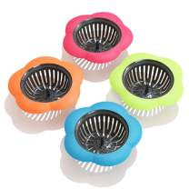 Betwoo Plastic Sink Strainer Kitchen Easy Clean Sink Drain Filter Basket (Set of 4, Multicolored)