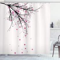 "Ambesonne Nature Shower Curtain, Cherry Blossoming Falling Petals Flowers Springtime Park Simple Illustration Print, Cloth Fabric Bathroom Decor Set with Hooks, 70"" Long, Pink Black"