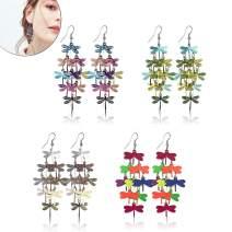Drop Dangle Earrings - Dangle Earrings metal Hollow earrings Dangle Hook Earrings fashion drop dangle earrings Lightweight metal leaf earrings dragonfly jewelry for women