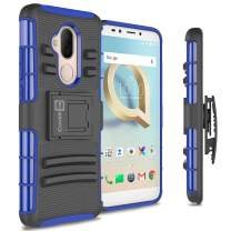 CoverON Kickstand Belt Clip Explorer Series for Alcatel 7 / T-Mobile REVVL 2 Plus Holster Case, Blue on Black