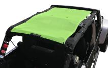 ALIEN SUNSHADE Jeep Wrangler JKU (2007-2018) Full Length Sun Shade Mesh Top Cover (Green) – 10 Year Warranty - Blocks UV, Wind, Noise