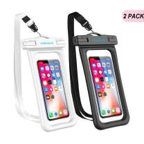 """GLBSUNION Waterproof Phone Pouch Floating, IPX8 Universal Waterproof Case Underwater Dry Bag Compatible iPhone 11 Pro Xs Max Xr X 8 7 Plus Galaxy s10 Note 9/8 Google Pixel up to 6.9"""" (Black, White)"""