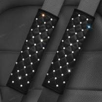 Uphily Bling Bling Car Leather Safety Belt Covers - Crystal Diamond Black Seat Belt Shoulder Pads for Women or Girls (2Pcs)