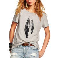 Weigou Summer Shirts for Women Feathers Printed Short Sleeve T Shirt Casual Loose Lady Tops Juniors Tees Graphic Tees