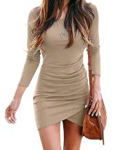 HiMONE Women Long Sleeve Elegant Ruched Bodycon Wrap Casual Irregular Hem Short Dress