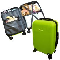 """Emmzoe Hardshell Baby Kids Gear 20"""" Carry-On Spinner Luggage Multi-Compartment for Food, Toys, Diapers, Clothes - Security Check Friendly (Lime Green)"""