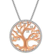 Angelady Necklace Tree of Life Pendant Necklace for Women with White Gift Box, Rose Gold Plated Round Pendant Necklaces with Box Chain for Mum Grandma Friend