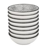 V VANCASSO Porcelain Dipping Bowls Set, 8-Piece Gray Glazed Patterned Porcelain 3.5oz Serving Dishes Set for Dessert Snack Sauce Cheese - Black