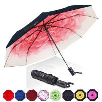 ABCCANOPY Umbrella Compact Rain&Wind Teflon Repellent Umbrellas Sun Protection with Black Glue Anti UV Coating Travel Auto Folding Umbrella, Blocking UV 99.98%,pink flower