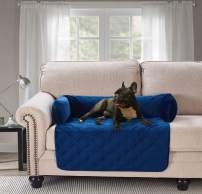 "Waterproof Velvet Pet Couch Sofa Bed Slip Resistant, with 3-Sides Removable Cushions, Soft and Durable for Dogs, Cats (Small 18""×32""×8"" Navy Blue)"