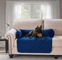 """Waterproof Velvet Pet Couch Sofa Bed Slip Resistant, with 3-Sides Removable Cushions, Soft and Durable for Dogs, Cats (Small 18""""×32""""×8"""" Navy Blue)"""