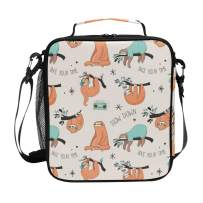 Cute Sloth Lunch Box for Girls Cooler Insulated Lunch Tote Bag with Shoulder Strap for School