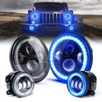 "Xprite 7 Inch 90W CREE LED Headlights & 4"" 60W Blue Fog Lights Combo w/Blue Halo for 2007-2018 Jeep Wrangler JK"