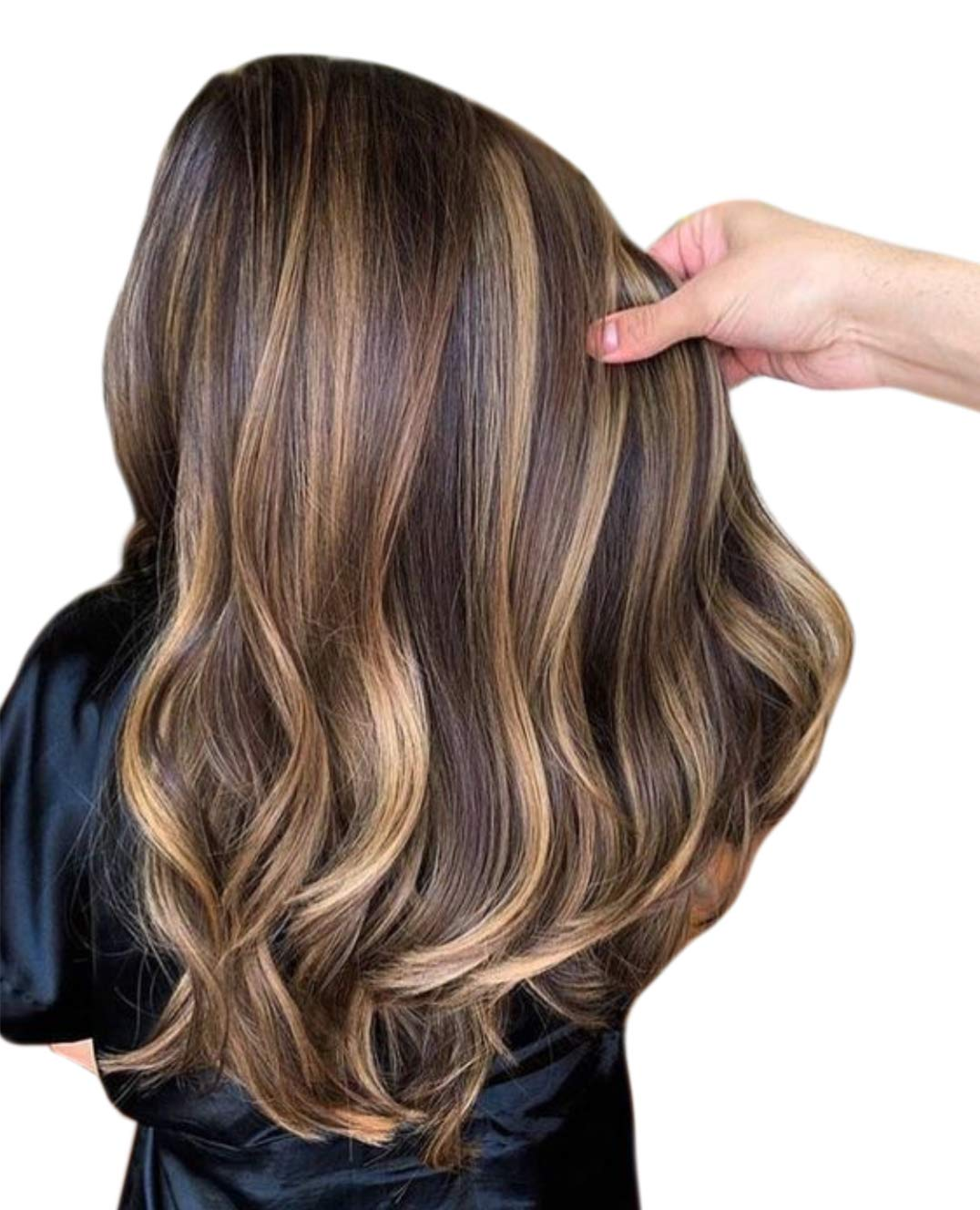 Hetto Invisible Tape in Human Hair Extensions #4 Dark Brown and #27 Caramel Blonde Real Hair Extensions Glue in Brazilian Hair for Short 24 Inch 20 Pieces 50Grams