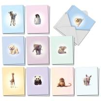 Zoo Babies - 20 Cute Baby Invitations with Envelopes (4 x 5.12 Inch) - Invites for Baby Shower, Newborn, Birthday - Boxed Assortment of Invite Note Cards (10 Designs, 2 Each) AM6726ING-B2x10