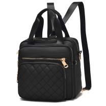 BAG WIZARD Multifunction Women Backpack Purse Nylon Lightweight Anti-theft Shoulder Bags Travel Large Capacity Handbag (Black)