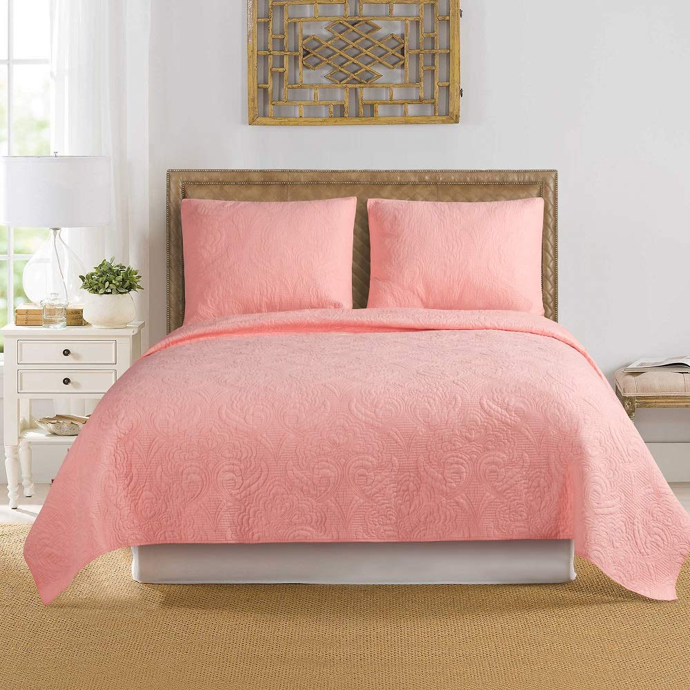 "ARTO MOSTO 100% Cotton Quilted and Prewashed 3PC Oversized Luxury Quilt Set/Coverlet Seter/BedspreadSet.Full/Queen:92""x96""/20x26""(2), King: 110""x96""/20x36""(2) (Pattern #3-Salmon, King)"