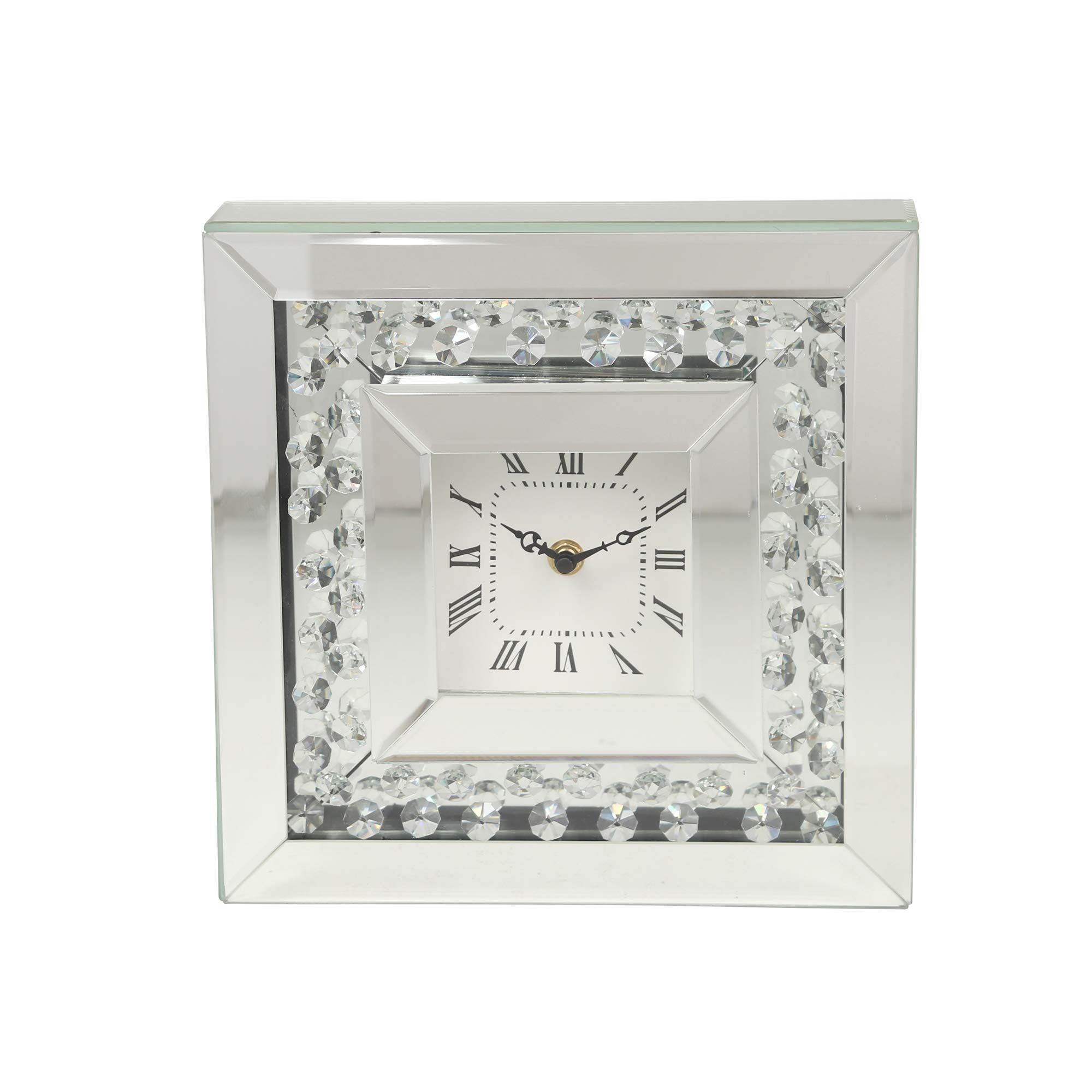 Sagebrook Home MDF Mirror Table Clock, 10 x 2.75 x 10, Silver
