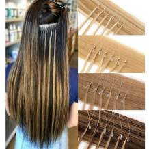 Loop Remy Hair Extensions Human Hair Silicone Micro Ring Beads Stick Tipped Hair Fish Line Link Hairpieces Hand Tied 1g/Strand 50 Individual Strands 50g Highlight 16 Inch #4 Medium Brown
