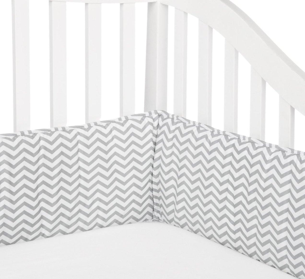 TL Care Cotton Percale Portable Zig Zag Crib Bumper, Mini, Grey and White, for Boys and Girls