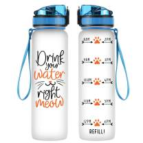 Coolife 32oz 1 Liter Motivational Tracking Water Bottle with Hourly Time Marker - Drink Your Water Right Meow - Funny Birthday Gifts for Women, Cat Lovers, Cat Moms, Cat Lady, Best Friend, Coworkers