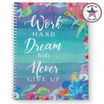"""Softcover Work Hard 8.5"""" x 11"""" Motivational Spiral Notebook/Journal, 120 College Ruled Pages, Durable Gloss Laminated Cover, White Wire-o Spiral. Made in the USA"""