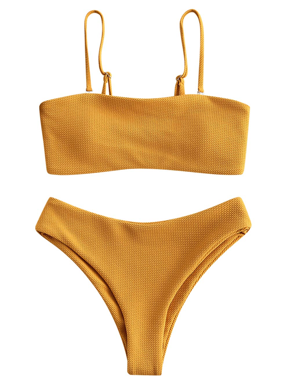 ZAFUL Women's Bandeau Bikini Set Removable Straps Textured High Cut Two Piece Swimsuits