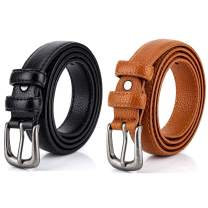 Women Belts, Pack of 2 Radmire Skinny Leather Belts for Jeans Dress Pants