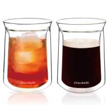 Double Wall Single Lip Insulated Glass Cup, Set of 2 (12oz / 350ml) - Borosilicate Glass For Coffee, Tea, Whiskey, Cocktails & All Beverages - Minimalistic & Durable Double-Wall Drinking Mug -