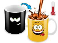 Cortunex Heat Changing Mug | 11 Oz Color Changing Mug With A Yellow Drunk Funny Smiley Face | Great Christmas Gift Idea | New Unique Funny Coffee Mug Design Ceramic Heat Sensitive Mug