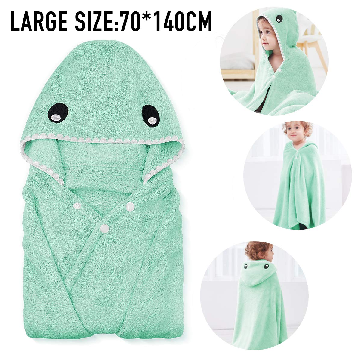 """ROMASA Kids Bath Towels,Premium Hooded Towel for Toddlers Highly Absorbent Coral Fleece Bathrobe for Boys Girls-27.5"""" x 55""""(Green Shark)"""
