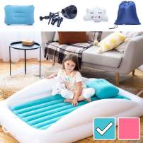 Sleepah Inflatable Toddler Travel Bed – Inflatable & Portable Bed Air Mattress Set –Blow up Mattress for Kids with High Safety Bed Rails. Set Includes Pump, Case, Pillow & Plush Toy (Aquamarine)