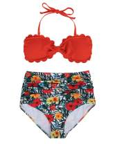 Tempt Me Women High Waisted Two Piece Swimsuits Sexy Bandeau Halter Bikini Set