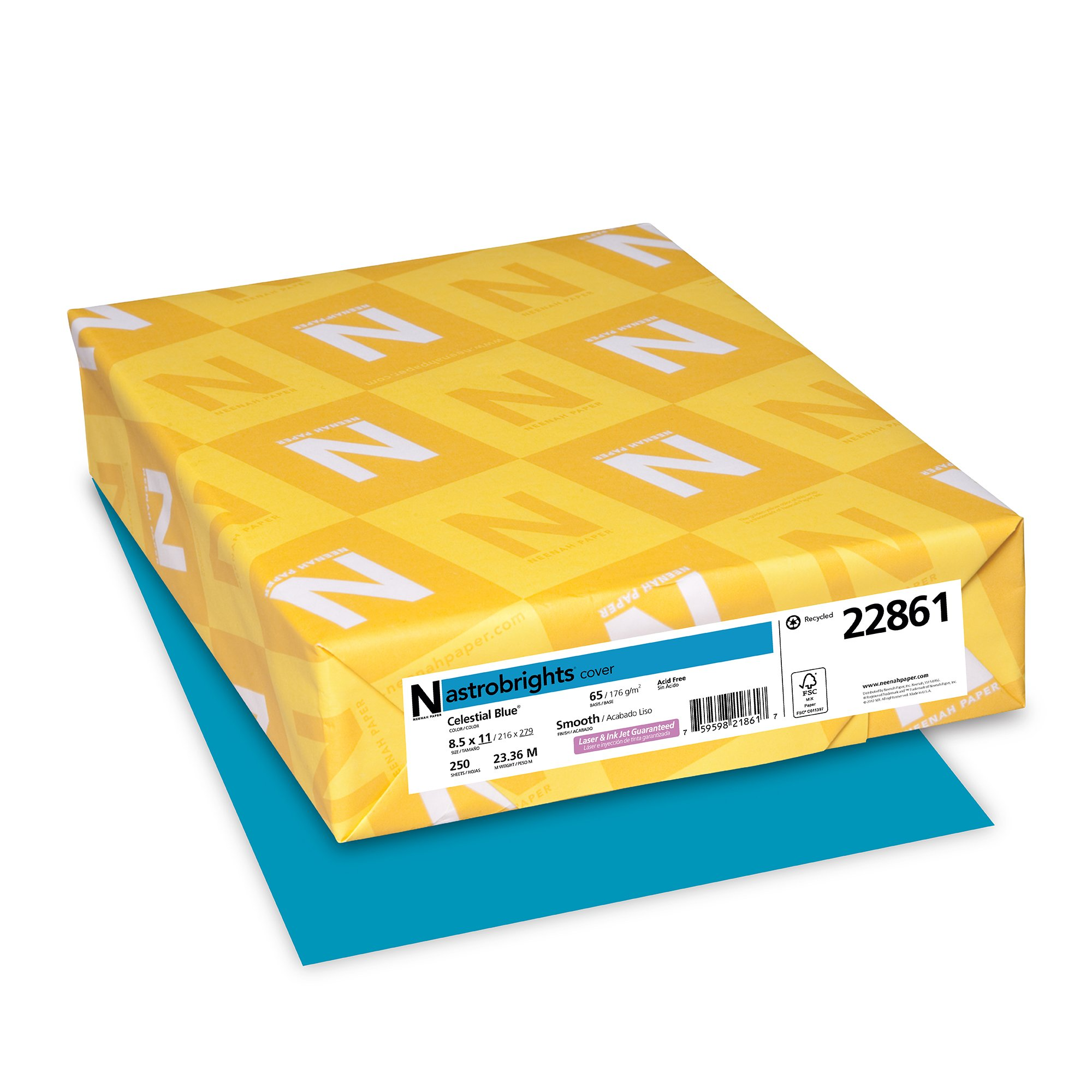 "Neenah Astrobrights Colored Cardstock, 8.5"" x 11"", 65 lb/176 GSM, Celestial Blue, 250 Sheets (22861)"