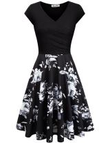 KASCLINO Wrap Dresses, Women's Floral Skirt Bottom Puffy Swing Party Dress with Pockets Black XXL