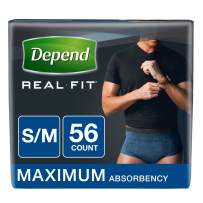 Depend Real Fit Incontinence Underwear for Men, Maximum Absorbency, Disposable, S/M, Blue, 56 Count