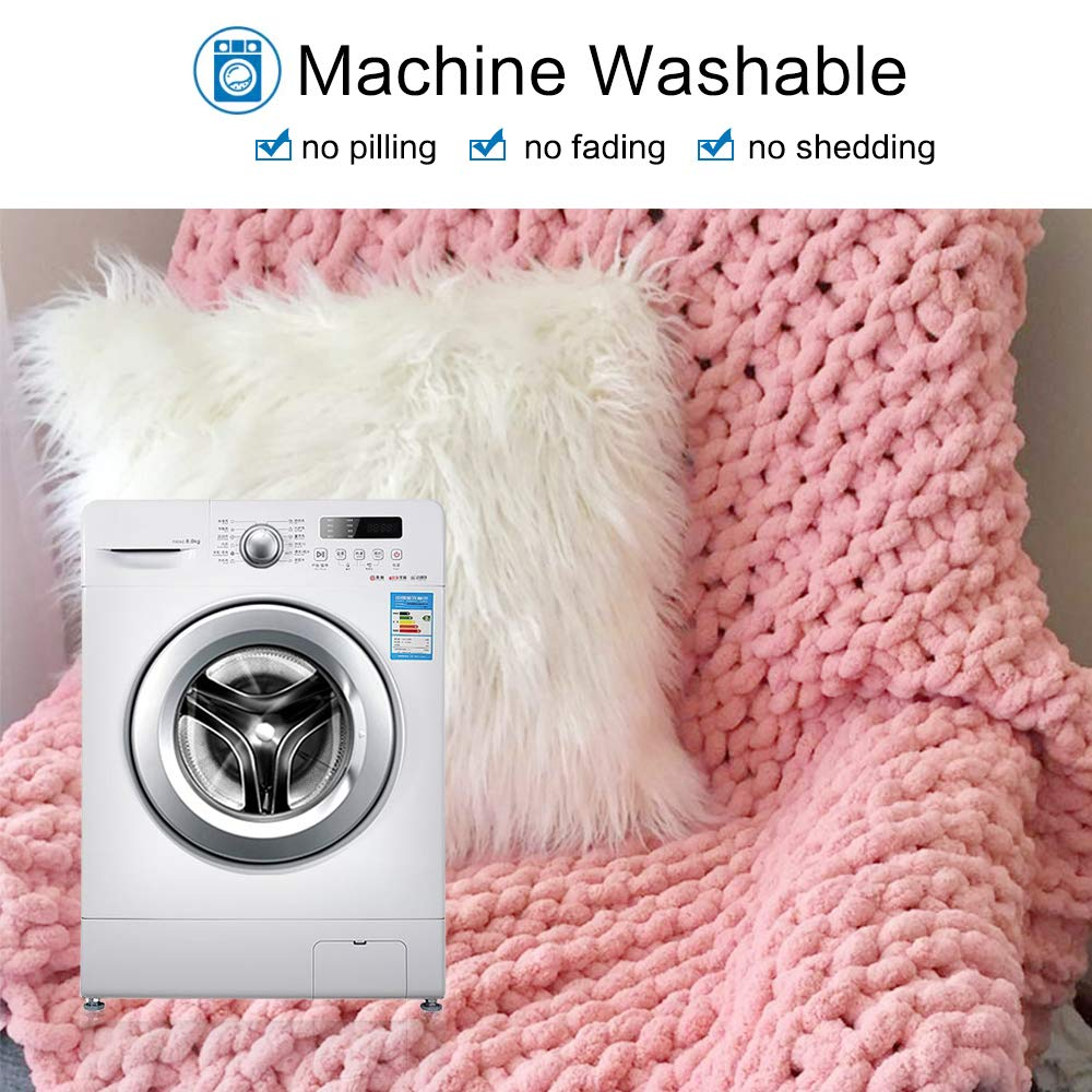 """EASTSURE Luxury Knit Chunky Throw Blanket Premium Super Soft Warm Cozy Chenille Blanket for Couch Bed Chair Pink 40""""x40"""""""