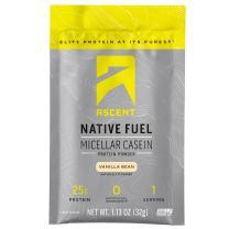Ascent Native Fuel Micellar Casein Protein Powder - Vanilla - 15 Single Serve Packets