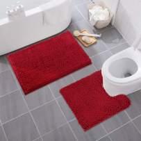 MAYSHINE Bathroom Rug Toilet Sets and Shaggy Non Slip Machine Washable Soft Microfiber Bath Contour Mat (Red, 32x20 / 20x20 Inches U-Shaped)