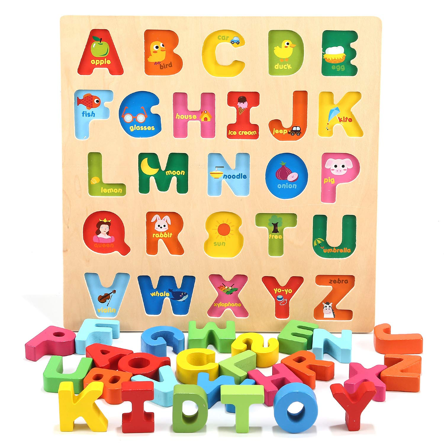 Jamohom Wooden 26 Letters Puzzles Educational Toys Baby Learning Uppercase Alphabet Jigsaw Game for Boy and Girl Gifts