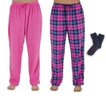 Mad Dog Concepts Women's Micro Fleece Pajama Pants with Cozy Socks (2pack)