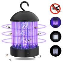 Electric Bug Zapper, Mosquito Killer Electric Shock Fly Insect Repellent, Indoor Pest Control with Night Lamp, Powerful UV Light Bulb Attractant for Outdoor, Backyard, Patio, Camping, Portable Lantern