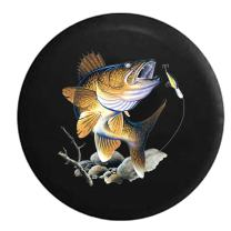 American Unlimited Jumping Fish Biting on Fishing Lure Spare Tire Cover (Fits: Jeep Wrangler Accessories or SUV Camper RV) Black 33 in