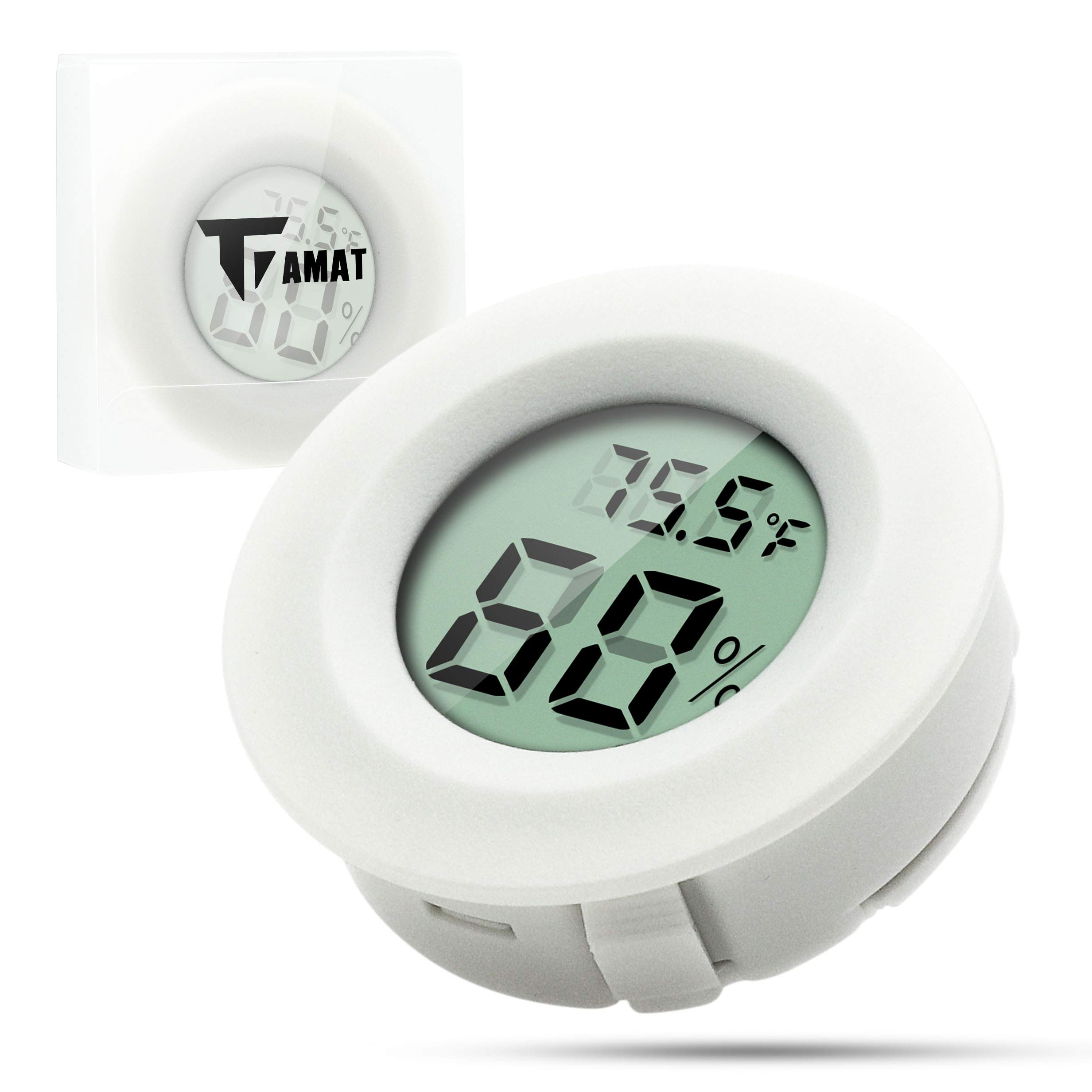 Digital Instant Read Thermometer Hygrometer, TIAMAT Temperature Humidity Meter Detector, Electronic Thermometer For Kitchen, Indoor, Cellar, Fridge, Closet (Snow)