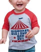 7 ate 9 Apparel Boy's Birthday Circus Red Raglan